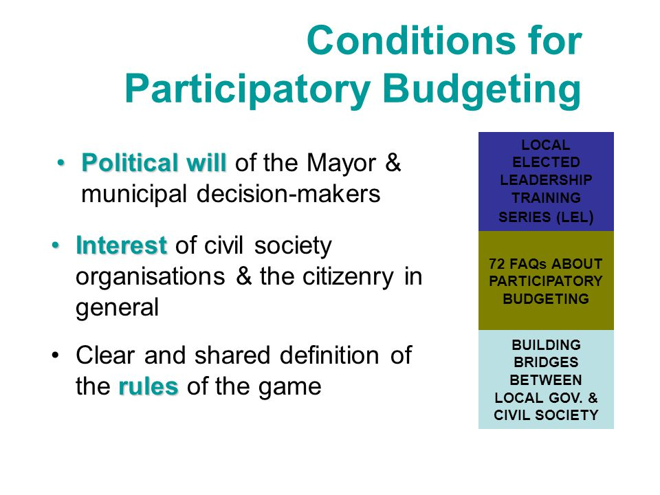 Conditions for Participatory Budgeting rulesClear and shared definition of the rules of the game InterestInterest of civil society organisations & the