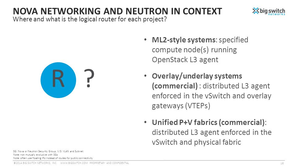 NOVA NETWORKING AND NEUTRON IN CONTEXT Where and what is the logical router for each project.