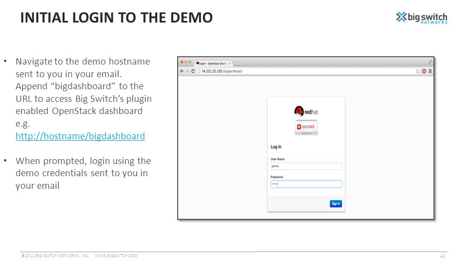 INITIAL LOGIN TO THE DEMO ©2012 BIG SWITCH NETWORKS, INC.