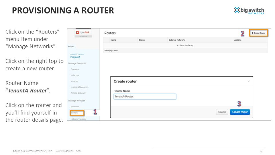PROVISIONING A ROUTER ©2012 BIG SWITCH NETWORKS, INC.