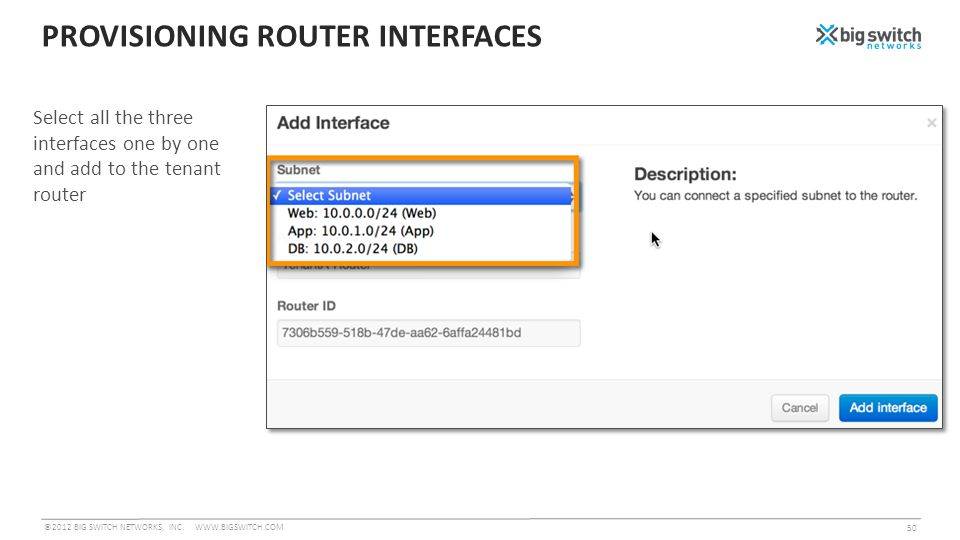 PROVISIONING ROUTER INTERFACES ©2012 BIG SWITCH NETWORKS, INC.