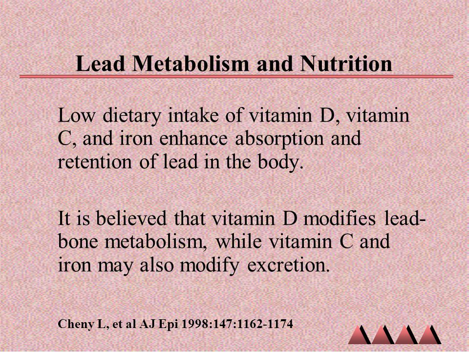 Lead Metabolism and Nutrition Low dietary intake of vitamin D, vitamin C, and iron enhance absorption and retention of lead in the body. It is believe
