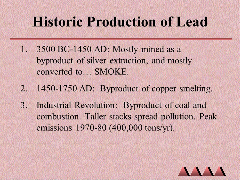 Historic Production of Lead 1.3500 BC-1450 AD: Mostly mined as a byproduct of silver extraction, and mostly converted to… SMOKE. 2.1450-1750 AD: Bypro