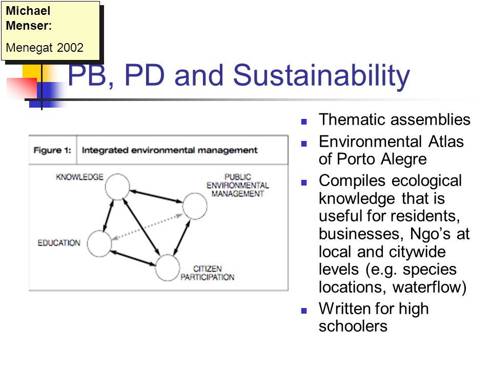 PB, PD and Sustainability Thematic assemblies Environmental Atlas of Porto Alegre Compiles ecological knowledge that is useful for residents, businesses, Ngo's at local and citywide levels (e.g.
