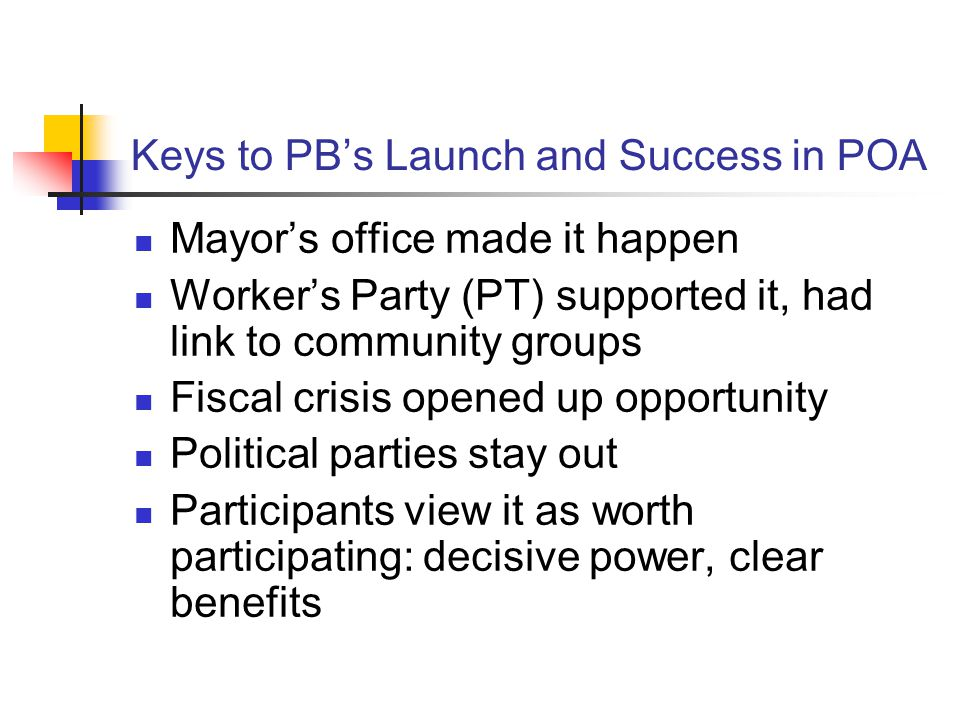 Keys to PB's Launch and Success in POA Mayor's office made it happen Worker's Party (PT) supported it, had link to community groups Fiscal crisis open