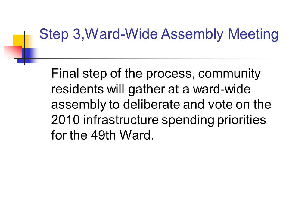 Step 3,Ward-Wide Assembly Meeting Final step of the process, community residents will gather at a ward-wide assembly to deliberate and vote on the 2010 infrastructure spending priorities for the 49th Ward.