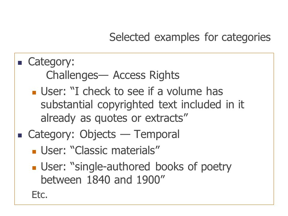 "Selected examples for categories Category: Challenges— Access Rights User: ""I check to see if a volume has substantial copyrighted text included in it"