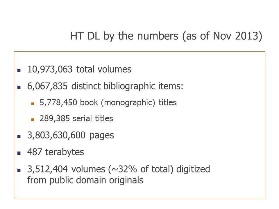 HT DL by the numbers (as of Nov 2013) 10,973,063 total volumes 6,067,835 distinct bibliographic items: 5,778,450 book (monographic) titles 289,385 ser