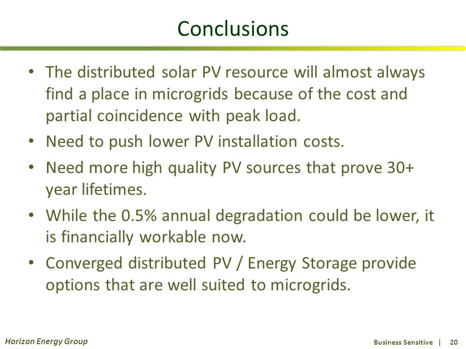 Business Sensitive | 20 Horizon Energy Group Conclusions The distributed solar PV resource will almost always find a place in microgrids because of th