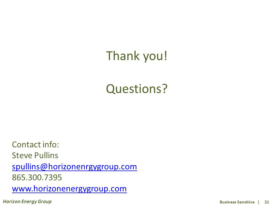 Business Sensitive | 21 Horizon Energy Group Thank you.