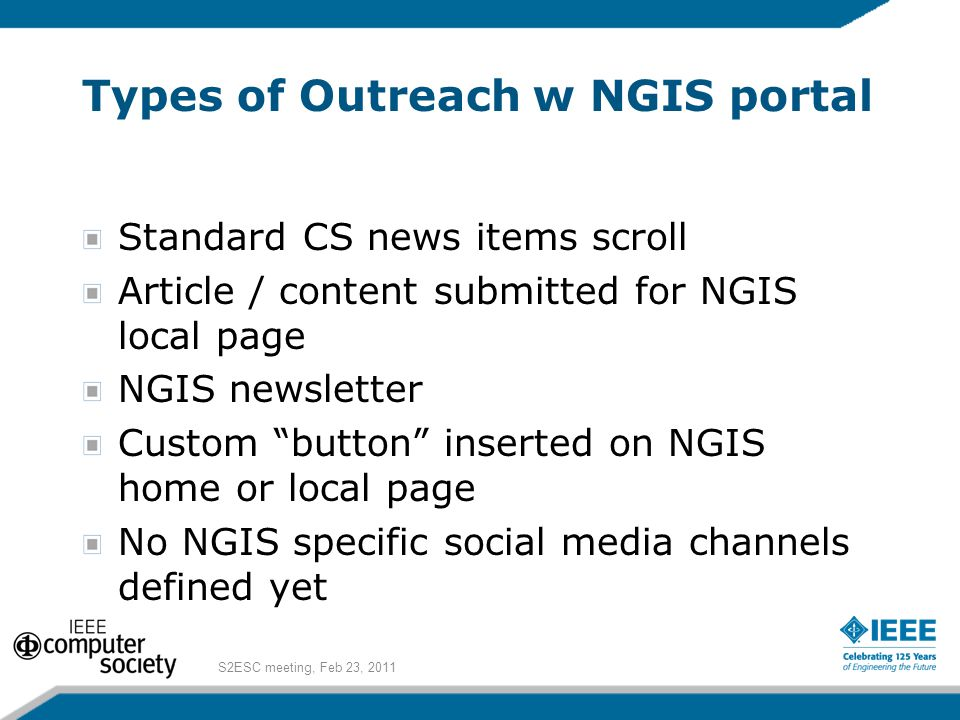 """Types of Outreach w NGIS portal Standard CS news items scroll Article / content submitted for NGIS local page NGIS newsletter Custom """"button"""" inserted"""