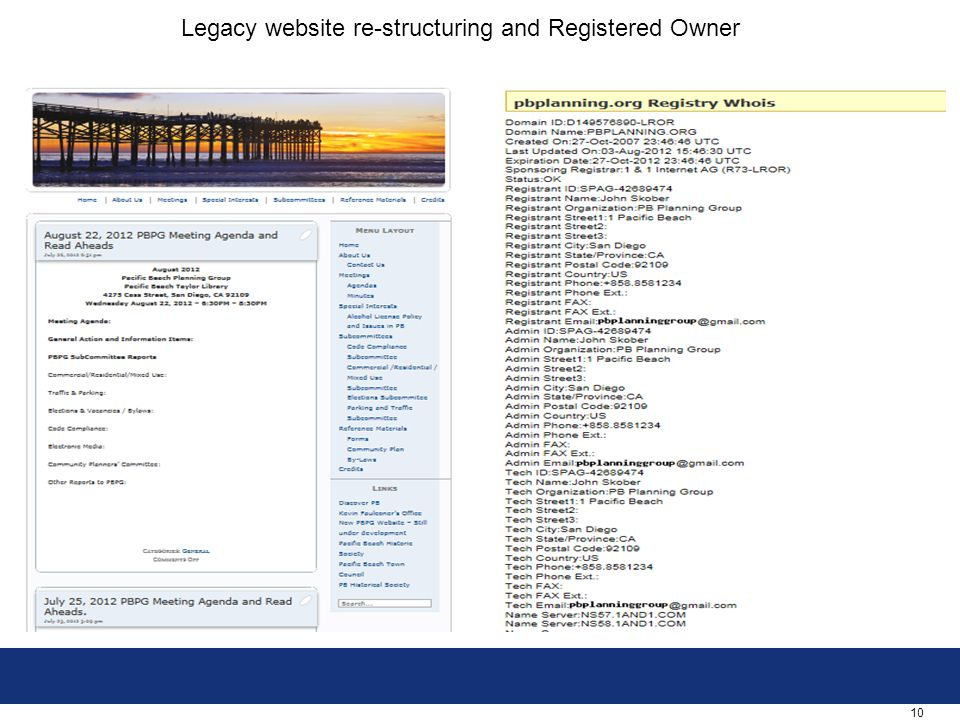 10 Legacy website re-structuring and Registered Owner