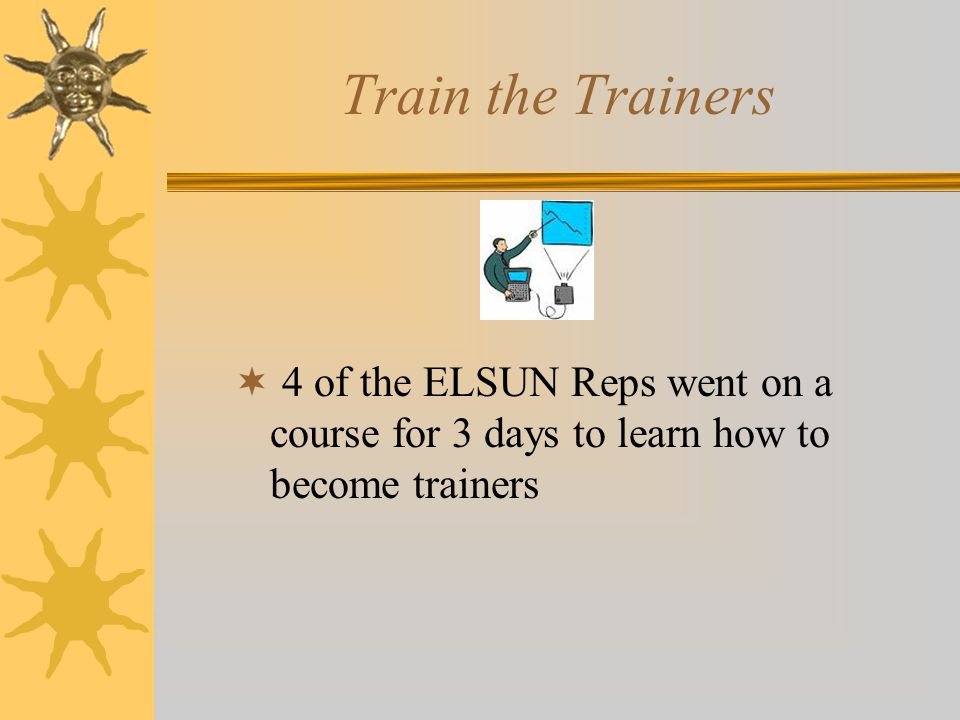 Train the Trainers  4 of the ELSUN Reps went on a course for 3 days to learn how to become trainers