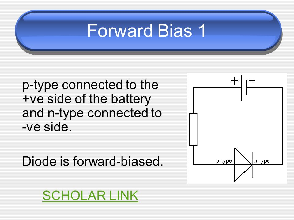 Forward Bias 2 junction voltage, V pn (potential barrier) opposes the applied voltage from the supply battery (for silicon diode V pn ~ 0.6V) If V s < V pn, no current flows If V s > V pn, charge carriers (electrons and holes) can cross the junction, reducing the depletion layer until it disappears, allowing the junction to fully conduct.