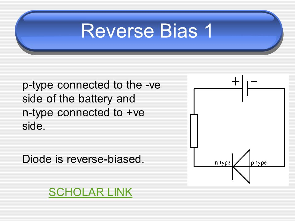 Reverse Bias 2 electrons in the n-type material are attracted by the +ve terminal of the battery electrons from the battery will enter the p-type end of the diode and combine with some of the holes.