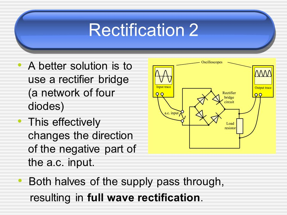 Rectification 2 A better solution is to use a rectifier bridge (a network of four diodes) This effectively changes the direction of the negative part