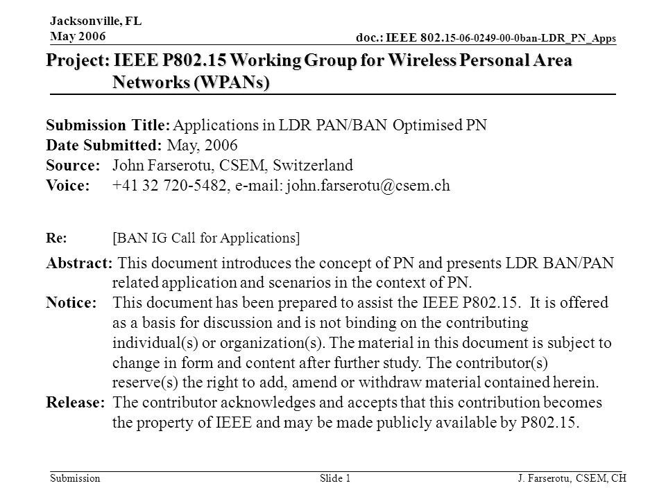 doc.: IEEE 802. 15-06-0249-00-0ban-LDR_PN_Apps Submission Jacksonville, FL May 2006 J. Farserotu, CSEM, CHSlide 1 Project: IEEE P802.15 Working Group