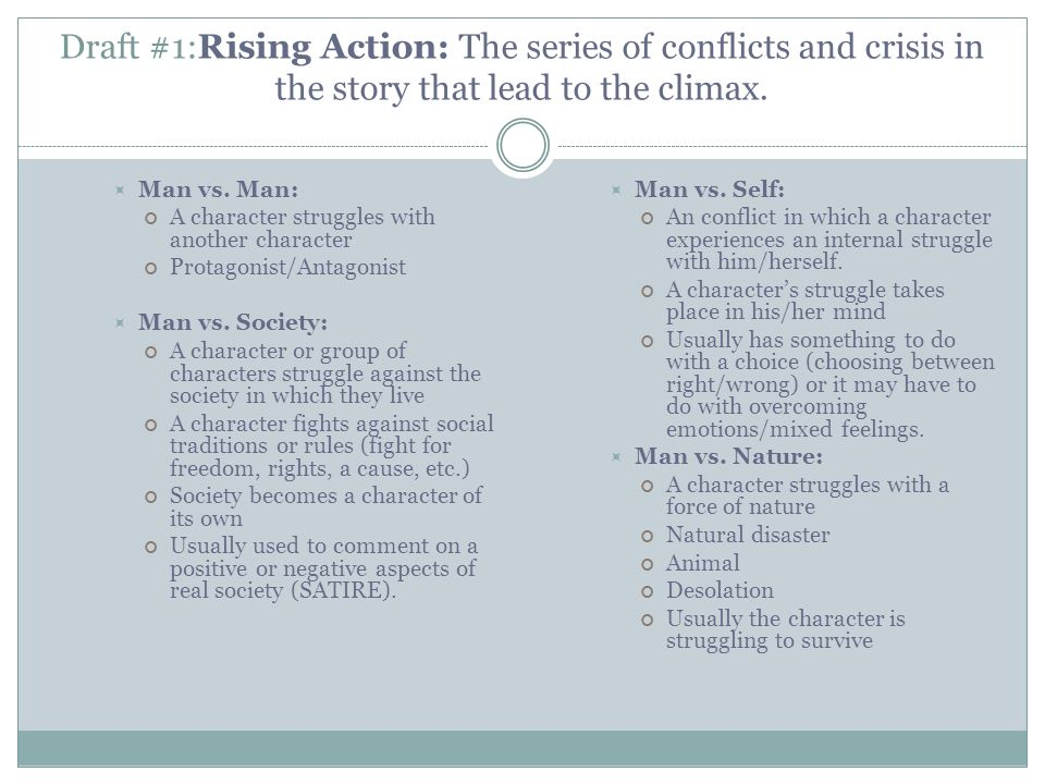 YOUR TURN.Label the parts in your essay that show one of the four types of conflict.