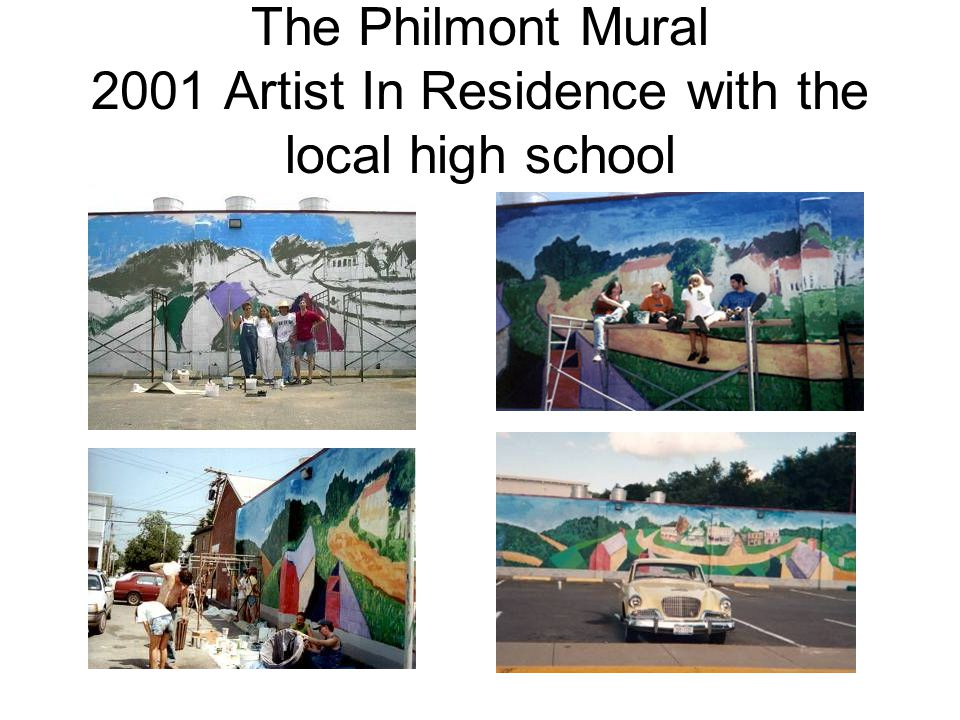 The Philmont Mural 2001 Artist In Residence with the local high school
