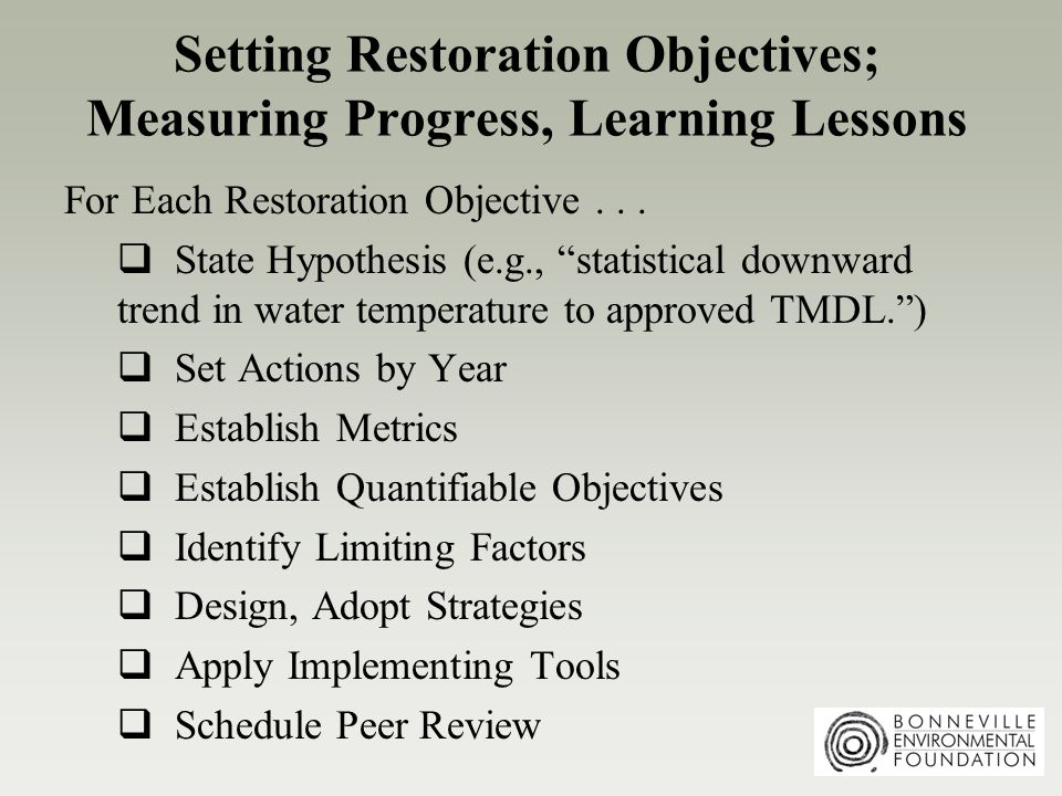 Setting Restoration Objectives; Measuring Progress, Learning Lessons For Each Restoration Objective...