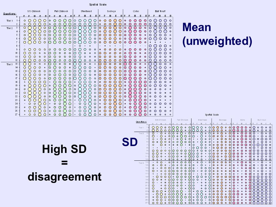 Mean (unweighted) SD High SD = disagreement