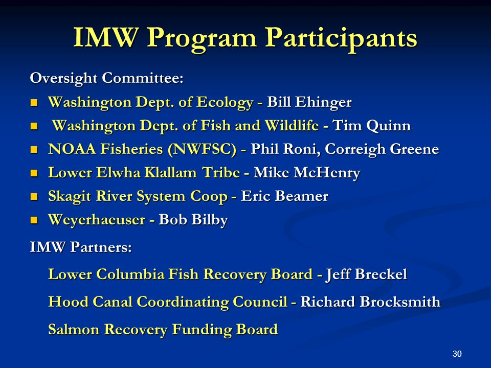 30 IMW Program Participants Oversight Committee: Washington Dept.