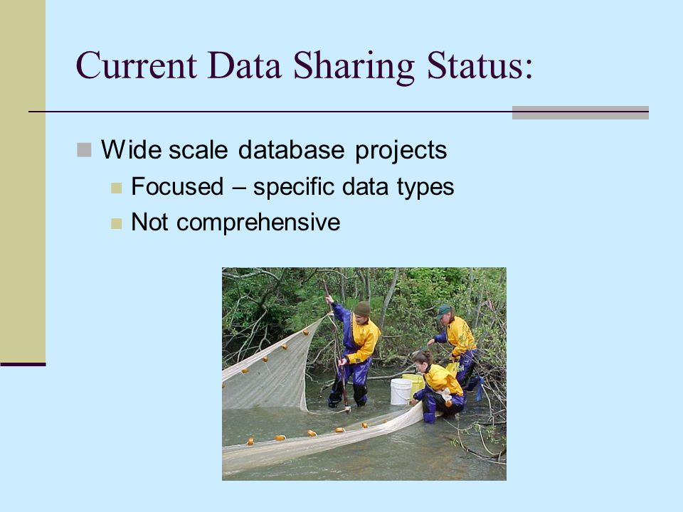 Current Data Sharing Status: Wide scale database projects Focused – specific data types Not comprehensive