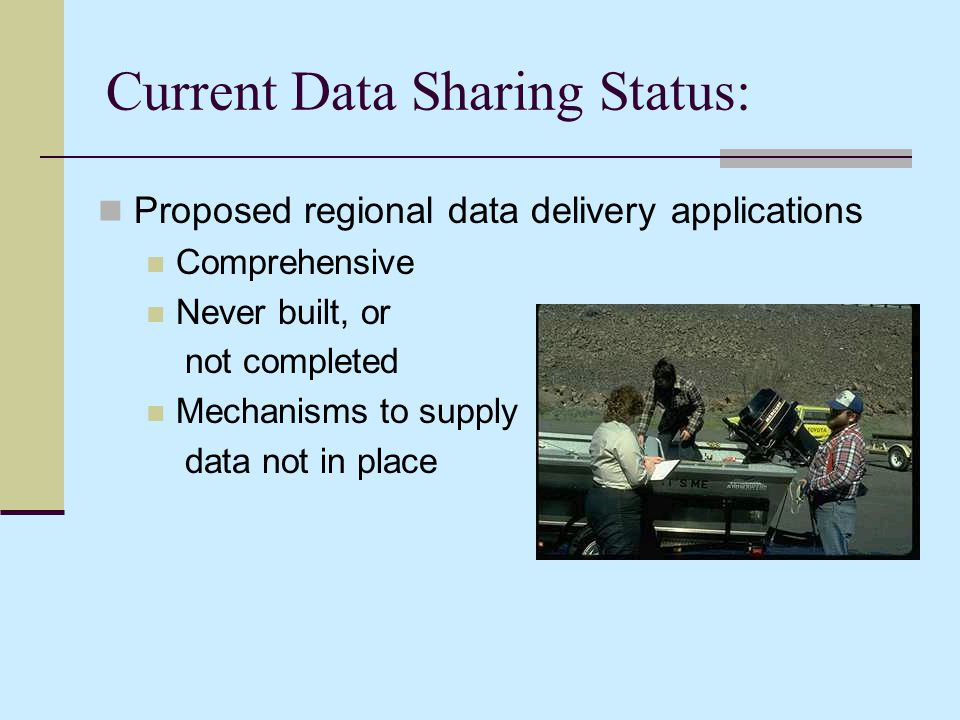 Current Data Sharing Status: Proposed regional data delivery applications Comprehensive Never built, or not completed Mechanisms to supply data not in place