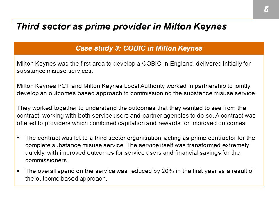 Case study 3: COBIC in Milton Keynes Milton Keynes was the first area to develop a COBIC in England, delivered initially for substance misuse services