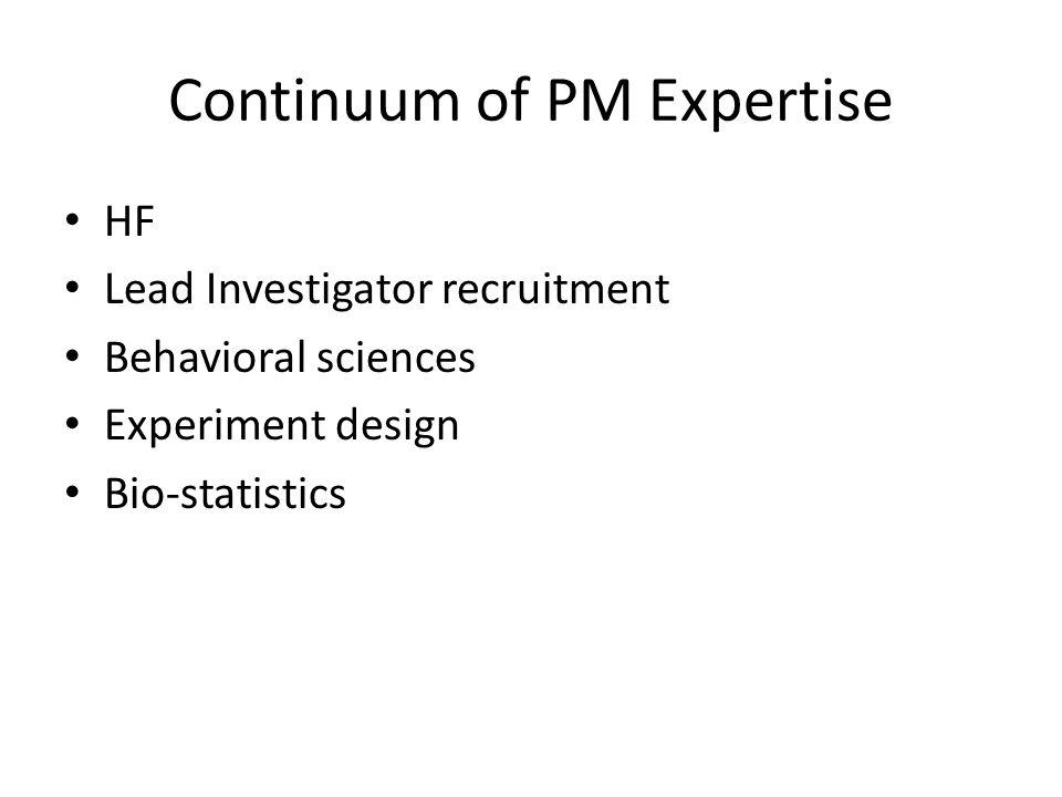 Continuum of PM Expertise HF Lead Investigator recruitment Behavioral sciences Experiment design Bio-statistics