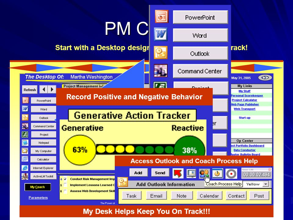PM Coach Start with a Desktop designed to keep the PM on Track.