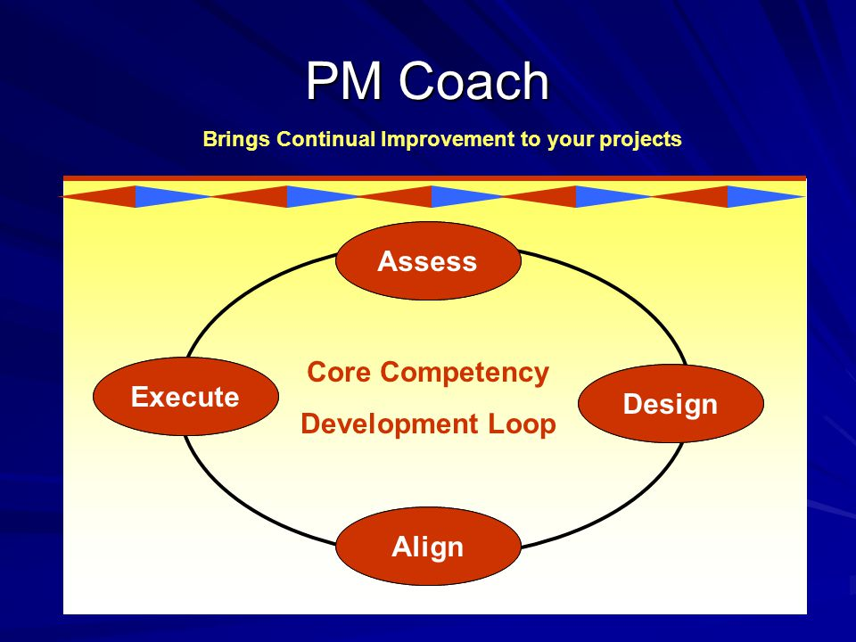 PM Coach Brings Continual Improvement to your projects Assess Execute Design Align Core Competency Development Loop Assess Design Align Execute
