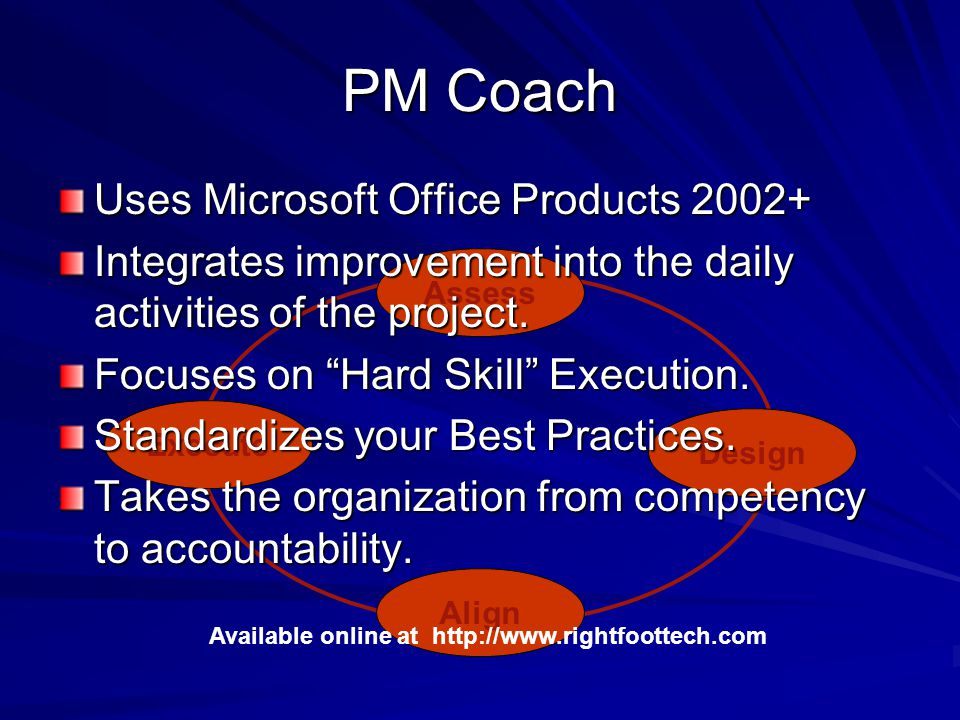 PM Coach Assess Design Align Execute Available online at http://www.rightfoottech.com Uses Microsoft Office Products 2002+ Integrates improvement into