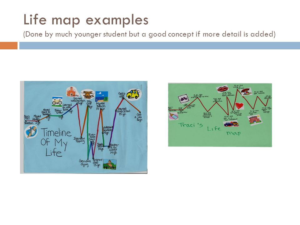 Life map examples (Done by much younger student but a good concept if more detail is added)