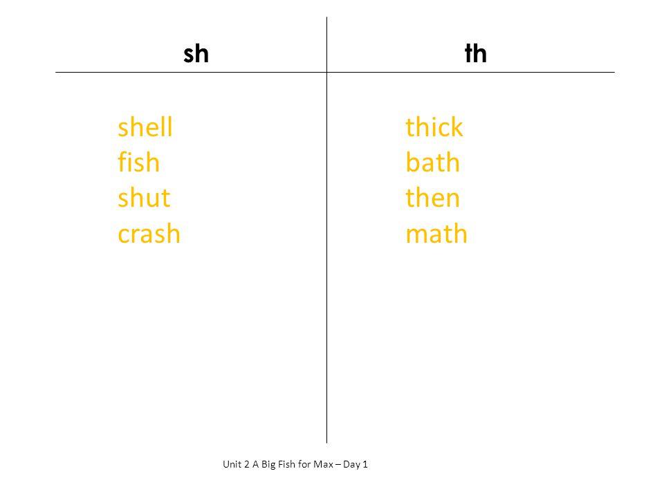 sh th Unit 2 A Big Fish for Max – Day 1 shell fish shut crash thick bath then math