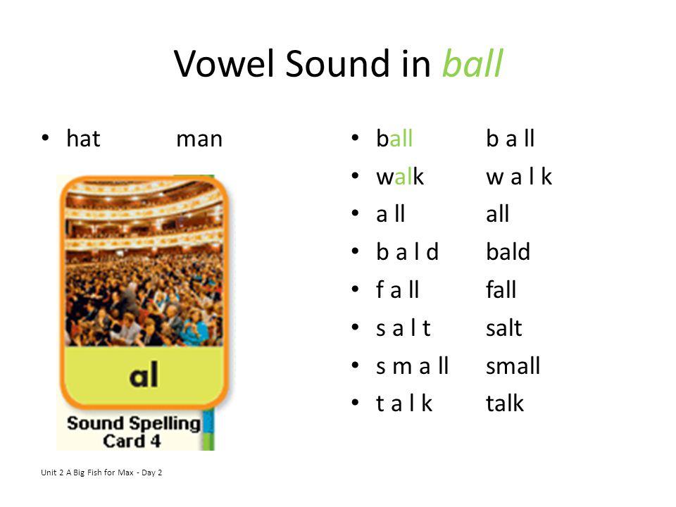 Vowel Sound in ball hatman Unit 2 A Big Fish for Max - Day 2 ballb a ll walkw a l k a llall b a l dbald f a llfall s a l tsalt s m a llsmall t a l kta