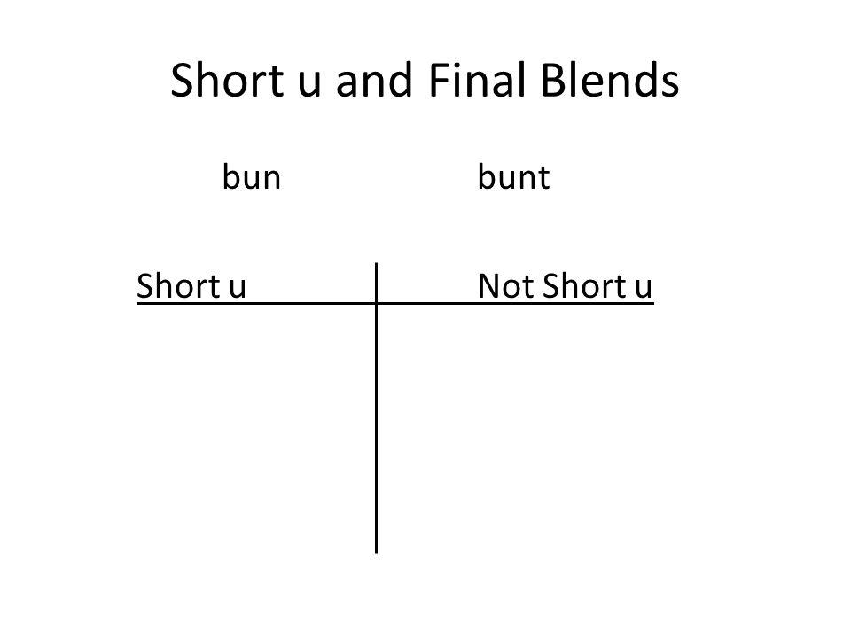 Short u and Final Blends bunbunt Short uNot Short u