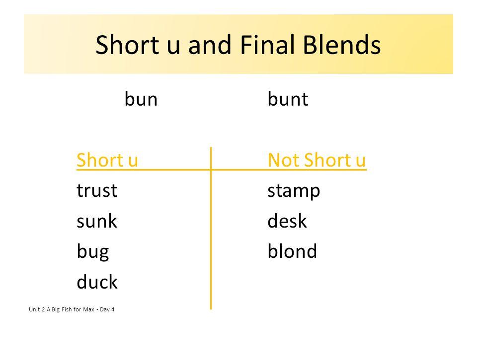 Short u and Final Blends bunbunt Short uNot Short u truststamp sunkdesk bugblond duck Unit 2 A Big Fish for Max - Day 4