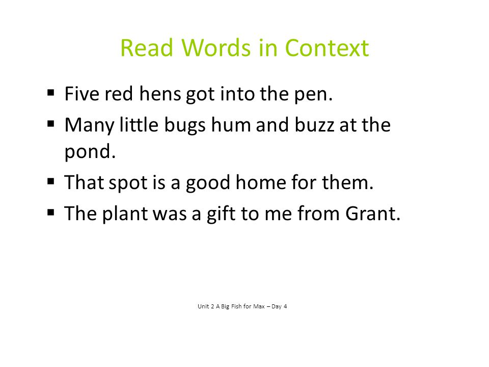 Read Words in Context  Five red hens got into the pen.  Many little bugs hum and buzz at the pond.  That spot is a good home for them.  The plant