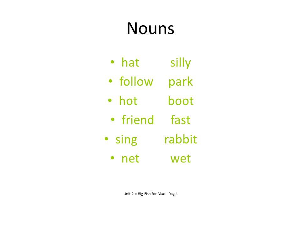 Nouns hatsilly followpark hotboot friendfast singrabbit netwet Unit 2 A Big Fish for Max - Day 4
