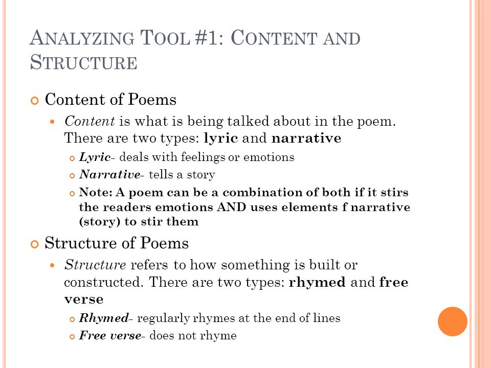 Q UESTIONS ABOUT C ONTENT AND S TRUCTURE Is there anything that tells a story in the poem.