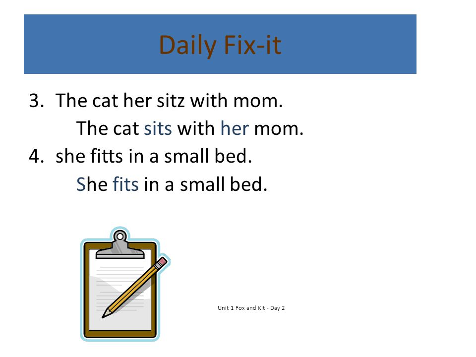 Daily Fix-it 3.The cat her sitz with mom. The cat sits with her mom. 4.she fitts in a small bed. She fits in a small bed. Unit 1 Fox and Kit - Day 2