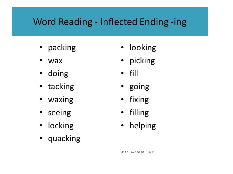 Word Reading - Inflected Ending -ing packing wax doing tacking waxing seeing locking quacking looking picking fill going fixing filling helping Unit 1 Fox and Kit - Day 2