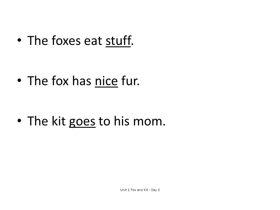 The foxes eat stuff. The fox has nice fur. The kit goes to his mom. Unit 1 Fox and Kit - Day 3