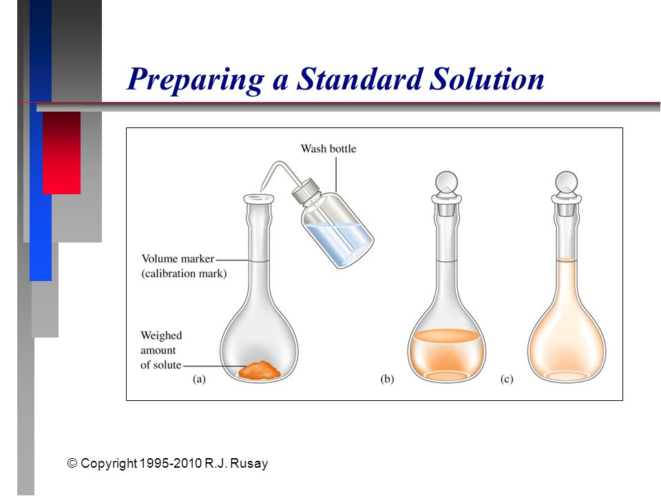 © Copyright 1995-2010 R.J. Rusay Preparing a Standard Solution