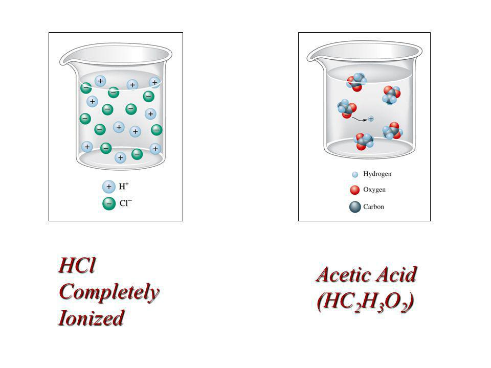 HCl Completely Ionized Acetic Acid (HC 2 H 3 O 2 )