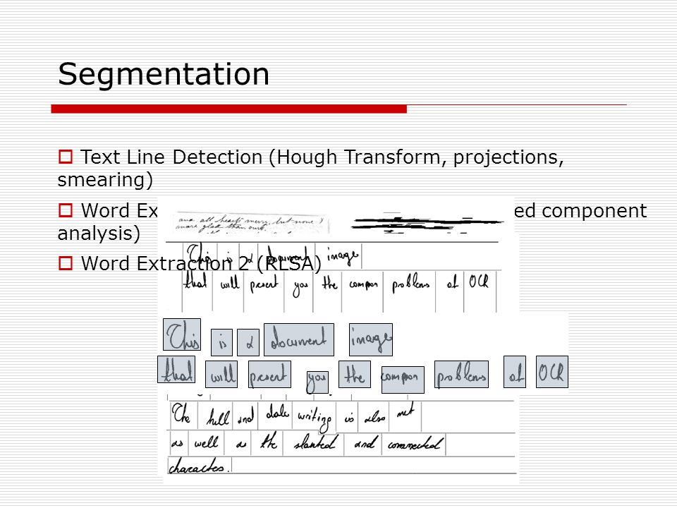 Segmentation  Text Line Detection (Hough Transform, projections, smearing)  Word Extraction (vertical projections, connected component analysis)  Word Extraction 2 (RLSA)