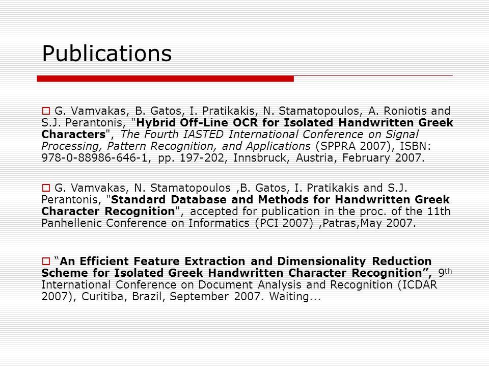 Publications  G.Vamvakas, B. Gatos, I. Pratikakis, N.