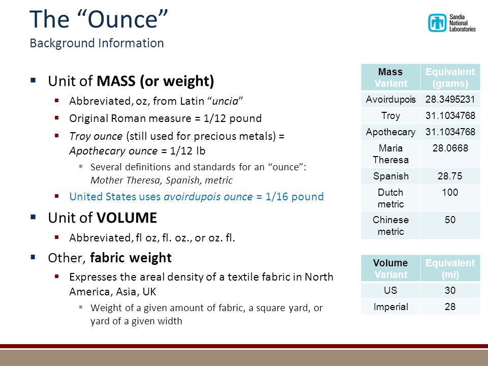 """The """"Ounce"""" Background Information  Unit of MASS (or weight)  Abbreviated, oz, from Latin """"uncia""""  Original Roman measure = 1/12 pound  Troy ounce"""