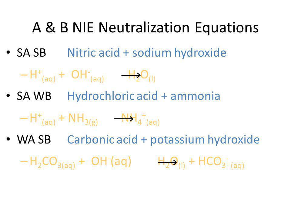 A & B NIE Neutralization Equations SA SB Nitric acid + sodium hydroxide – H + (aq) + OH - (aq) H 2 O (l) SA WB Hydrochloric acid + ammonia – H + (aq) + NH 3(g) NH 4 + (aq) WA SB Carbonic acid + potassium hydroxide – H 2 CO 3(aq) + OH - (aq) H 2 O (l) + HCO 3 - (aq)